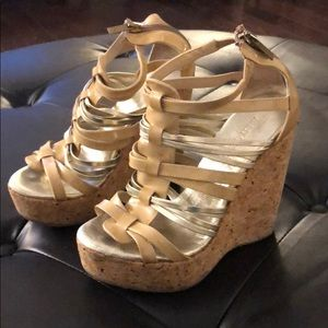 Pre loved Jimmy Choo cork wedges.